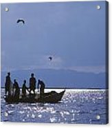 Fishermen Pulling Fishing Nets On Small Acrylic Print by Axiom Photographic