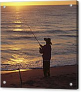 Fishing At Sunrise Acrylic Print by Raymond Gehman