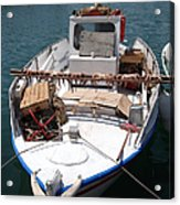 Fishing Boat With Octopus Drying Acrylic Print by Jane Rix