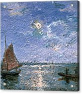 Fishing Boats By Moonlight Acrylic Print by Alfred Wahlberg