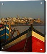 Fishing Boats In Front Of Kasbah Des Acrylic Print by Axiom Photographic