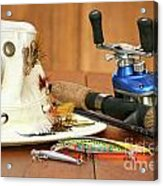 Fishing Reel With Hat And Color Lures Acrylic Print by Sandra Cunningham