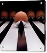 Five Brown Eggs Held In Five Stainless Steel Spoon Acrylic Print by TonyMaj