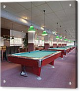 Five Pool Billiards Tables In A Row Acrylic Print by Corepics