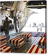 Flag Draped Coffins Of Five Us Soldiers Acrylic Print by Everett