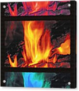 Flames Triptych Acrylic Print by Steve Ohlsen