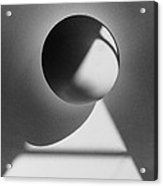 Floating Sphere On Light Triangle- Black And White Silver Gelati Acrylic Print by Adam Long