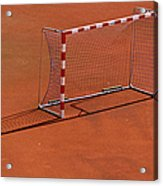Football Net On Red Ground Acrylic Print by Daniel Kulinski