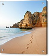 Footsteps In Sand Acrylic Print by Monica and Michael Sweet