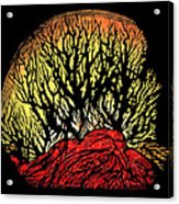 Forest Fire, Lino Print Acrylic Print by Gary Hincks