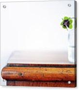 Fourleaf Cloverin Vase On Dresser Acrylic Print by Elisabeth Schmitt
