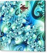Fractal And Swan Acrylic Print by Odon Czintos