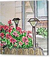 Front Yard Lights Sketchbook Project Down My Street Acrylic Print by Irina Sztukowski