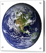 Full Earth Showing North America White Acrylic Print by Stocktrek Images