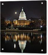 Full Moon At The Us Capitol Acrylic Print by Metro DC Photography