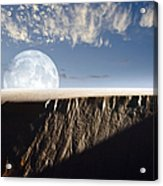 Full Moon Rising Above A Sand Dune Acrylic Print by Roth Ritter