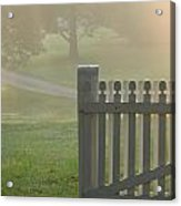 Garden Gate In Morning Fog Acrylic Print by Olivier Le Queinec