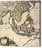 General Map Extending From India And Ceylon To Northwestern Australia By Way Of Southern Japan Acrylic Print by Nicolaes Visscher Claes Jansz
