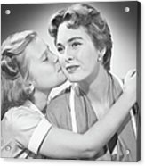 Girl (8-9) Kissing Mother, (b&w) Acrylic Print by George Marks