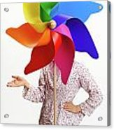Girl Behind A Colorful Windmill Acrylic Print by Sami Sarkis