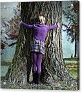 Girl Hugging Tree Trunk Acrylic Print by Joana Kruse