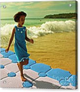 Girl In A Knitted Dress Acrylic Print by Paul Grand