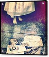 Girl In Abandoned Room Acrylic Print by Jill Battaglia