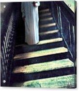 Girl In Nightgown On Steps Acrylic Print by Jill Battaglia