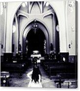 Girl In The Church Acrylic Print by Jenny Rainbow
