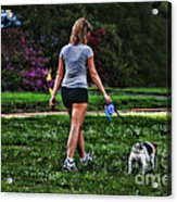 Girl Walking Dog Acrylic Print by Paul Ward