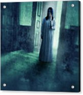 Girl With Candle In Doorway Acrylic Print by Jill Battaglia