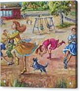 Girls Playing Horse Acrylic Print by Dawn Senior-Trask