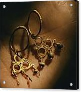 Gold Earrings Hung With Pearls Are Part Acrylic Print by Ira Block