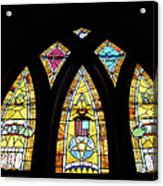 Gold Stained Glass Window Acrylic Print by Thomas Woolworth