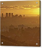 Golden City Acrylic Print by Eric Lo