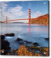 Golden Gate At Dawn Acrylic Print by Brian Jannsen