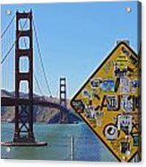 Golden Gate Stickers Acrylic Print by Cedric Darrigrand