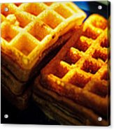 Golden Waffles Acrylic Print by Rebecca Sherman