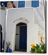 Greek Doorway Acrylic Print by Jane Rix