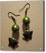 Green Butterfly Earrings Acrylic Print by Jenna Green