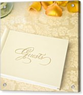 Guestbook On A Table Acrylic Print by Ned Frisk
