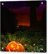 Halloween Cemetery Acrylic Print by Amanda Elwell