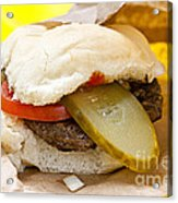 Hamburger With Pickle And Tomato Acrylic Print by Elena Elisseeva