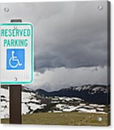 Handicap Parking Sign At A National Park Acrylic Print by Bryan Mullennix