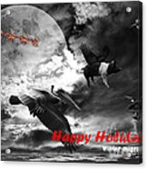 Happy Holidays . Winter Migration . Bw Acrylic Print by Wingsdomain Art and Photography