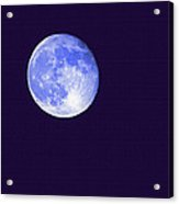 Harvest Moon - Blue Moon Acrylic Print by Steve Ohlsen