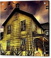 Haunted Halloween House Acrylic Print by Robin Pross