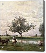 Haycart Beside A River  Acrylic Print by Jean Baptiste Camille Corot