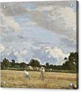 Haymaking Acrylic Print by Eugene Louis Boudin