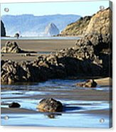 Haystack Rock From Arcadia Beach Acrylic Print by Steven A Bash